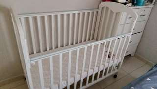 Baby Cot+ bed + protected +bed cover