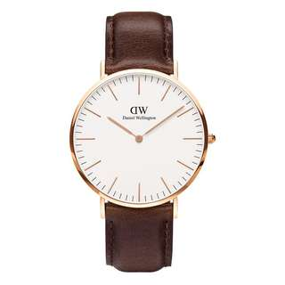 Daniel Wellington Watch 36mm white classic Bristol brown