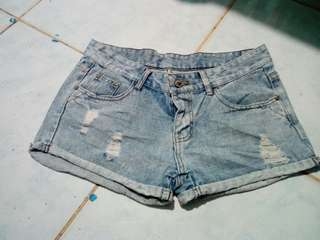 Take all denim tattered shorts