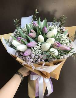Purple and white tulips eucalyptus baby breath Hand Bouquet
