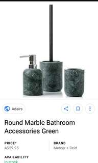 Luxury green marble soap dispenser and toothbrush holder