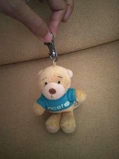 keychain bag charm boneka bear unocef