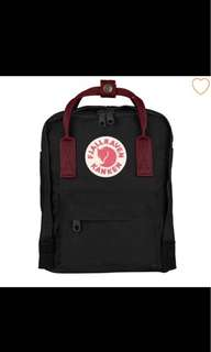 Kanken Classic size backpack black ox red