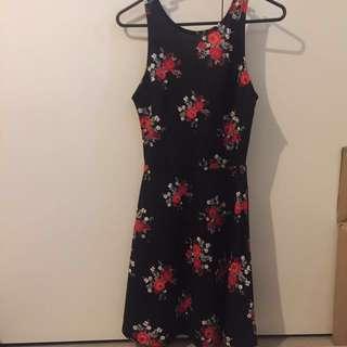 Black Floral Low Back Skater Dress