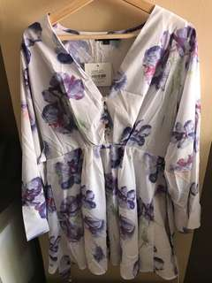 Floral button up babydoll top