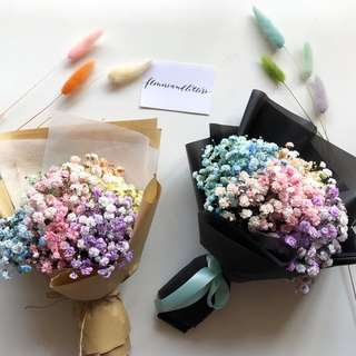 Rainbow baby's breath hand bouquet flower bouquet fresh flowers real flowers