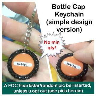 Bottle Cap Personalised Keychain (simple design version - no min order qty) [as personalised gifts handmade uncle.anthony uncle anthony uac]