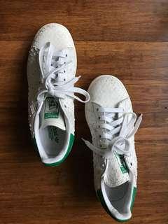 Adidas Stan Smith green + white with snake skin