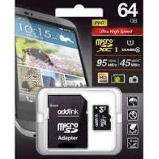 MICRO SDHC 64GB CLASS 10 UHS-1+SD ADAPTOR ADDLINK (Brand New)