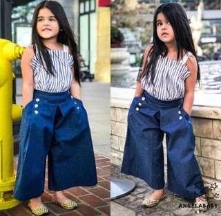 Casual kids Vertical Striped + Denim Loose Leggings Outfit