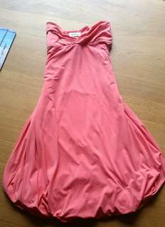 Kookai pink salmon strapless bubble dress