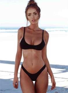 Brazillian scoop neck two piece bikini swimwear