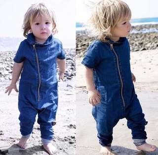 Toddler Denim Short Sleeve Bodysuit