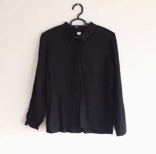 BN basic black mandarin collar blouse