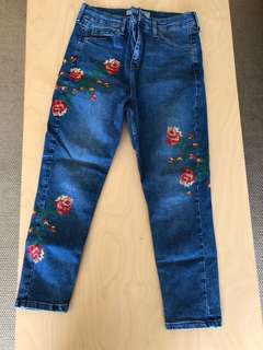 TopShop petite Floral embroidered jeans