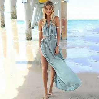 歐美時尚休閒渡假日韓系希臘羅馬特色造型異國風情性感女神細綁帶鏤空連身長洋裝