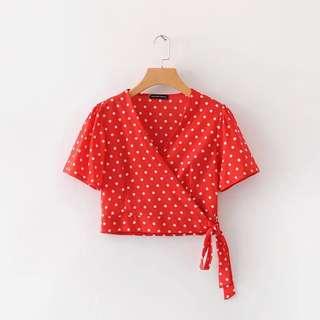 🔥Europe V Wrap Chest Wave Cross Straps Short Sleeve Shirt