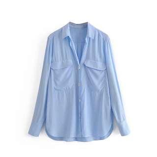 🔥Europe Long Sleeve Pocket Shirt Hit Color Line Shirt
