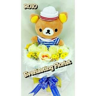 Bucket Rilakkuma (R010) Buket Bunga Boneka Rilakuma Bouquet Wedding Wisuda Engaged Proposed Valentine Anniversary Kado Hadiah Unik