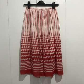 🚚 紅白菱格雪紡鬆緊長裙