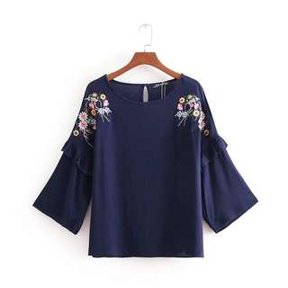 🔥Europe 2018 Loose Wild Flower Embroidery Leaf Round Neck Shirt Blouse