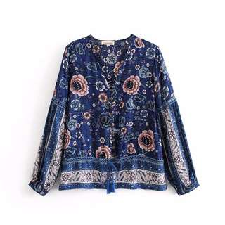 🔥Europe New Loose Design Lace Long Sleeve V Neck Shirt Top
