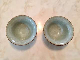 Matching pair of Tenmoku glaze cup