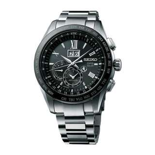 Seiko Astron SSE137J1 GPS Solar Titanium SSE137 SSE137J Black Silver