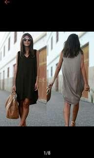 (Grey S in stock). V neck loose dress.