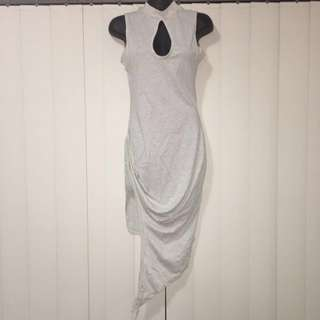 Long Gorgeous Grey Fitted Size 6-8 Dress