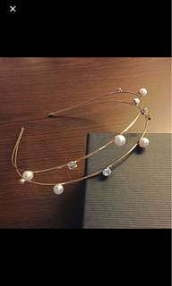 Double layer pearl and diamond hairband