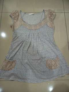 Promod polka dot top with lace