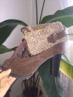 Brown winter boot heels