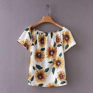 🔥Europe 2018 Loose Short Sleeve Sunflower Print Wild Shirt