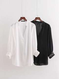 🔥Europe Loose Long Sleeve Pearl Decorative Blouse Shirt