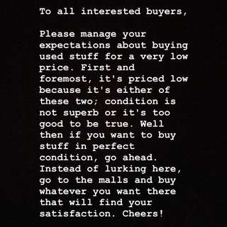 To all interested buyers