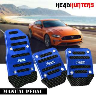 R Sports Non-Slip Pedal Kit Gas Clutch Brake Cover Pads for Manual Transmission Vehicles (Blue)