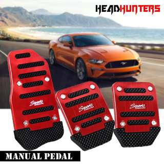 R Sports Non-Slip Pedal Kit Gas Clutch Brake Cover Pads for Manual Transmission Vehicles (Red)