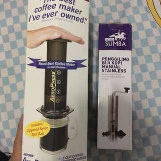 Aeropress Coffee Maker + Manual Coffee Grinder Latina Sumba