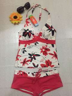 Red floral tankini