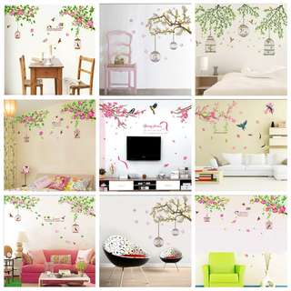 💥( 6 Designs . $13 Each ) Romance Hibiscus Flower bird cage Wall Sticker Bedroom Living Room TV Wall Stickers Home Decorations Remove Home decor ( Raw sticker 90x60cm )