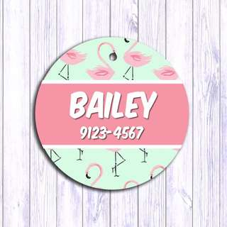 Pink Flamingo pet tag , Pet ID , Dog , Cat , Handmade Customized , Personalized, Name , Clothing , Accessories , Pet Collars , Kids , Children , Key chain , keychain Dog tag , Cat tag