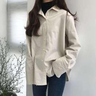 Cream beige formal shirt outerwear blouse