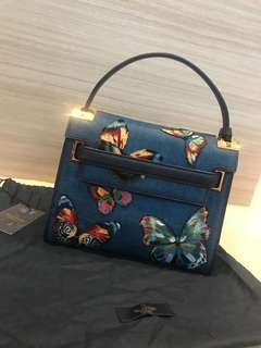 Preloved Valentino denim bag with butterfly embroidery