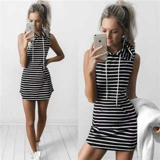 *CLEARANCE SALES* Plus Size Hoodie Striped Dress