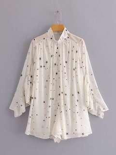 🔥Europe New Loose Star Printed Bat Sleeve V Neck Tee Long Sleeve Shirt