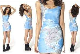 World map dress black milk