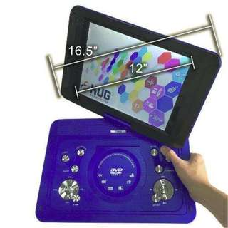 """Portable DVD Player 16.5"""" Inch Screen Frame, 12"""" Inch LCD Monitor, Built in Speaker, USB, SD Card Support, TV and Games - HUG (Blue)"""