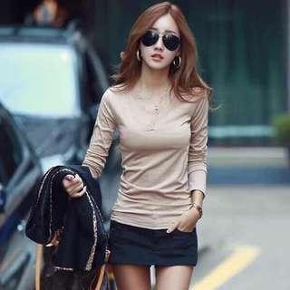 Apricot long sleeves blouse
