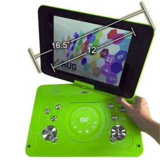 "Portable DVD Player 16.5"" Inch Screen Frame, 12"" Inch LCD Monitor, Built in Speaker, USB, SD Card Support, TV and Games - HUG (Green)"